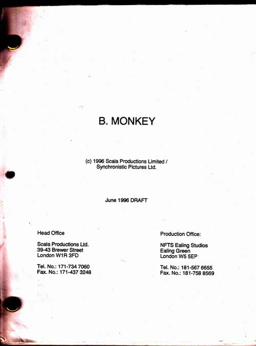 Image for B. Monkey [Original Screenplay]