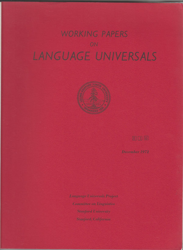 Image for Working Papers on Language Universals 10