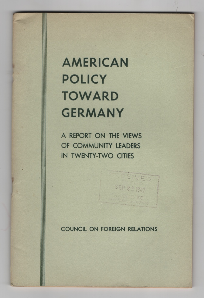 Image for American Policy Toward Germany: a Report on the Views of Community Leaders in Twenty-Two Cities